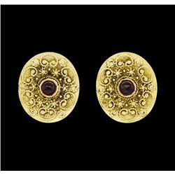 14KT Yellow Gold 0.50 ctw Garnet Earrings