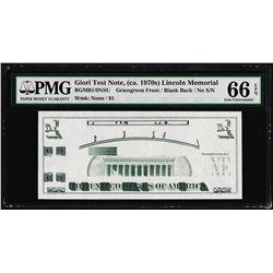 Giori Test Note Lincoln Memorial PMG Gem Uncirculated 66EPQ
