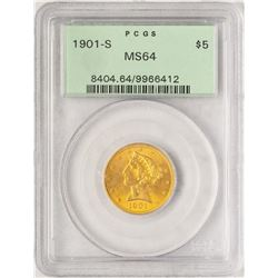 1901-S $5 Liberty Head Half Eagle Gold Coin PCGS MS64 Old Green Holder