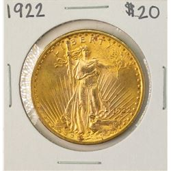 1922 $20 St. Gaudens Double Eagle Gold Coin