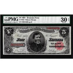 1891 $5 Treasury Note Fr.363 PMG Very Fine 30EPQ