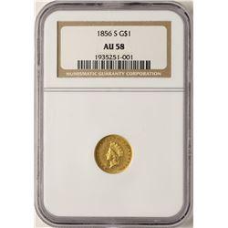 1856-S $1 Indian Princess Head Gold Dollar Coin NGC AU58