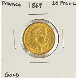 1869 France 20 Francs Napoleon III Gold Coin