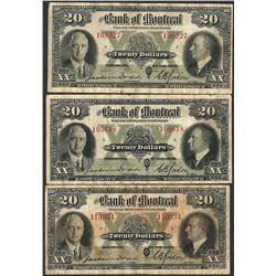 Lot of (3) 1935 $20 The Bank of Montreal Canada Notes
