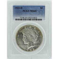 1922-D $1 Peace Silver Dollar Coin PCGS MS65