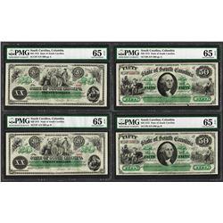 Cut Sheet of 1872 $20 & $50 State of South Carolina Obsolete Notes PMG Gem Unc.