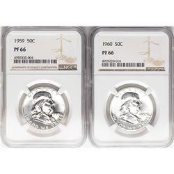 Lot of 1959 & 1960 Franklin Half Dollar Coins NGC PF66