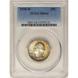 1936-D Washington Quarter Coin PCGS MS64 Nice Toning