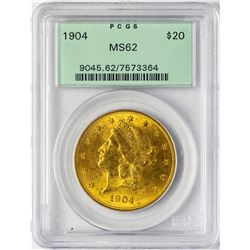 1904 $20 Double Eagle Gold Coin PCGS MS62