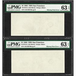 (2) Consecutive 1985 $1 Federal Reserve Notes ERROR Blank Reverse PMG Choice Unc