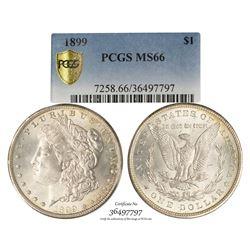 1899 $1 Morgan Silver Dollar Coin PCGS MS66