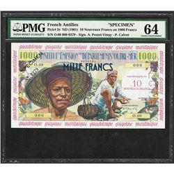 1961 French Antilles 10 Nouveaux Francs on 1000 Francs Specimen Note PMG Choice