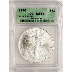 1996 $1 American Silver Eagle Coin ICG MS69