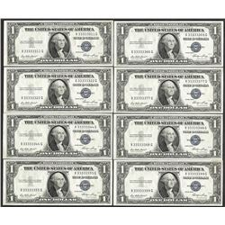 Lot of (8) 1935E $1 Silver Certificate Notes Fancy Serials