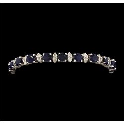 14KT White Gold 12.40 ctw Blue Sapphire and Diamond Bracelet