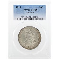 1811 Small 8 Capped Bust Half Dollar Coin PCGS AU55