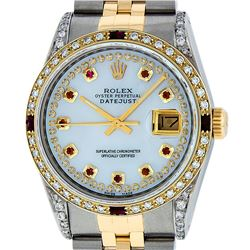 Rolex Mens Two Tone 14K Lugs MOP Ruby & Diamond 36MM Datejust