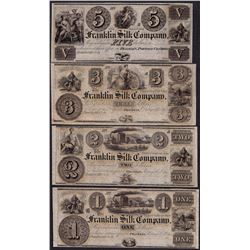 Lot of 1800's $1/2/3/5 Franklin Silk Company Obsolete Notes