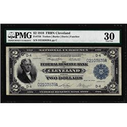 1918 $2 Battleship Federal Reserve Note Cleveland Fr.758 PMG Very Fine 30