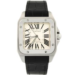 Cartier Mens Santos 100 Stainless Steel 41x51mm Silver Roman Dial Watch