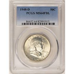 1948-D Franklin Half Dollar Coin PCGS MS64FBL