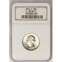 1946-S Washington Quarter Coin NGC MS65