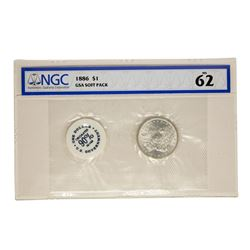 1886 $1 Morgan Silver Dollar Coin GSA Soft Pack NGC MS62