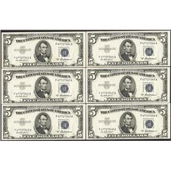Lot of (6) Consecutive 1953A $5 Silver Certificate Notes