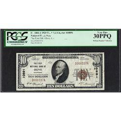 1929 $10 First NB of Olive, CA CH# 10891 National Currency Note PCGS Very Fine 3