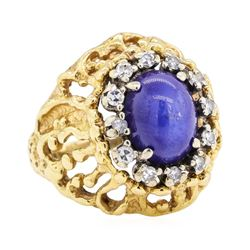 14KT Yellow Gold 1.50 ctw Lindy Star Sapphire and Diamond Ring