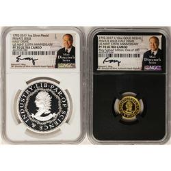 1792-2017 Half Disme 1/10 oz. Gold & 1oz. Silver Medals NGC PF70 W/ Moy Signatur