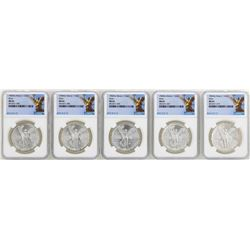 Lot of (5) 1982Mo Mexico Libertad Onza Silver Coins NGC MS65
