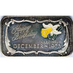December 1973 Happy Birthday Enamel Silver Art Bar
