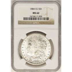 1884-CC $1 Morgan Silver Dollar Coin NGC MS62