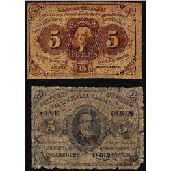 Lot of 1863 Five Cents First and Third Issue Fractional Currency Notes