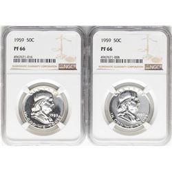 Lot of (2) 1959 Franklin Half Dollar Coins NGC PF66