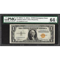 1935A $1 North Africa WWII Emergency Issue Silver Certificate Note PMG Ch. Unc.