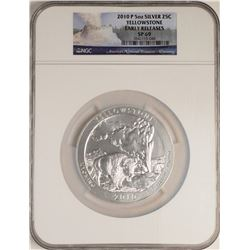 2010-P America the Beautiful Yellowstone 5 Ounce Silver Coin NGC SP69 Early Rele
