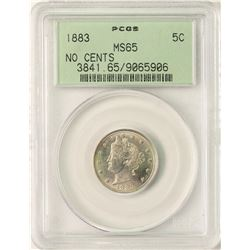 1883 No Cents Liberty V Nickel Coin PCGS MS65 Old Green Holder