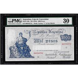 1934 Argentina 1000 Pesos Caja de Conversion Bank Note PMG Very Fine 30