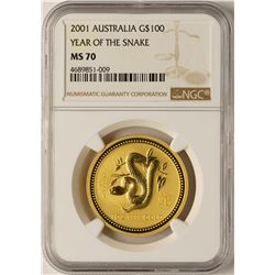2001 Australia $100 Year of the Snake Gold Coin NGC MS70