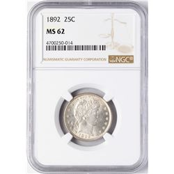 1892 Barber Quarter Coin NGC MS62