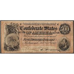 1864 $500 Confederate States of America Note