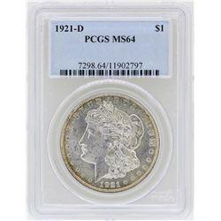 1921-D $1 Morgan Silver Dollar Coin PCGS MS64
