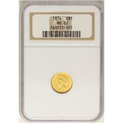 1874 $1 Indian Princess Head Gold Dollar Coin NGC MS62