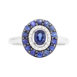 14KT White Gold 1.07 ctw Sapphire and Diamond Ring