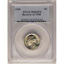 1939 Reverse of 1940 Jefferson Nickel Coin PCGS MS66FS