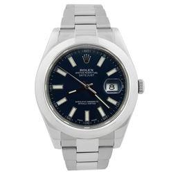 Rolex Mens Datejust II Stainless Steel 41mm Blue Luminous Stick Dial Watch