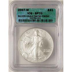 2007-W $1 Satin Finish American Silver Eagle Coin ICG SP70