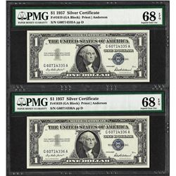 Lot of (2) Consec. 1957 $1 Silver Certificate Notes PMG Superb Gem Unc 68PPQ